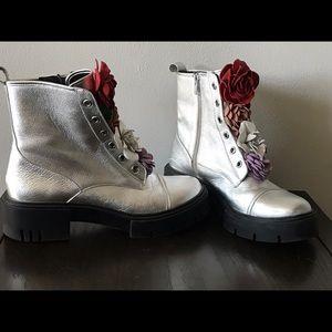 Floral combat detail combat boots